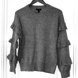 J. Crew grey ruffle sleeve sweater